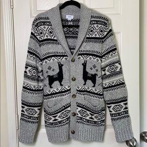 Old Navy Shawl Collar Llama Pattern Cardigan Med